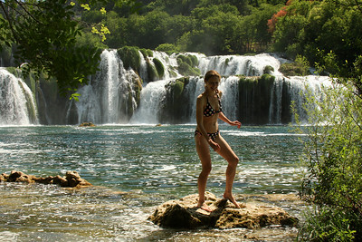 This is all the further Emily wanted to venture because of the cold water - Krka N.P., Croatia ... May 8, 2008 ... Photo by Rob Page III