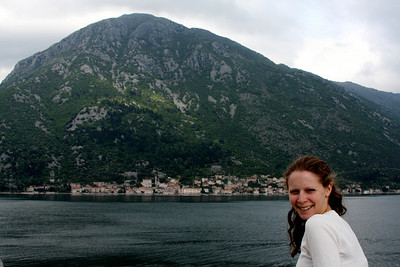 Emily with the town of Perast in the background - Kotor Bay, Montenegro ... April 30, 2008 ... Photo by Rob Page III