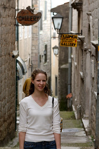 Emily in one of the back alleys of the old town - Herceg Novi, Montenegro ... April 30, 2008 ... Photo by Rob Page III