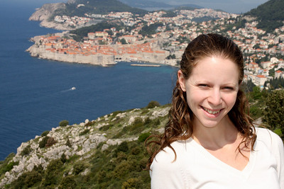 Emily with Dubrovnik in the background - Dubrovnik, Croatia ... April 30, 2008 ... Photo by Rob Page III