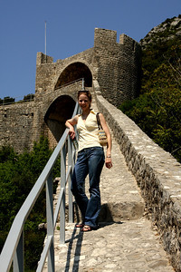 Emily on the Great Wall of China.  Actually she is on the Great Wall of Ston.  This was the longest defensive wall in Europe and the second largest in the world after the Great Wall of China - Ston, Croatia ... May 2, 2008 ... Photo by Rob Page III