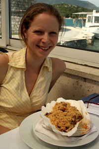 This are of Croatia is well known for its excellent seafood.  Here is Emily enjoying some seafood risotto served in a giant shell - Mali Ston, Croatia ... May 2, 2008 ... Photo by Rob Page III
