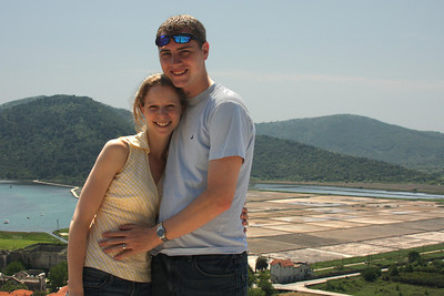 Emily and Rob with the salt flats in the background - Ston, Croatia ... May 2, 2008 ... Photo by Rob Page III