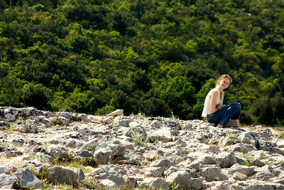 Emily sits on the ancient fort - Mali Ston, Croatia ... May 2, 2008 ... Photo by Rob Page III