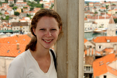Emily and town of Trogir from the Cathedral of St. Lovro - Trogir, Croatia ... May 5, 2008 ... Photo by Rob Page III