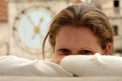 Emily and the old clock - Trogir, Croatia ... May 5, 2008 ... Photo by Rob Page III