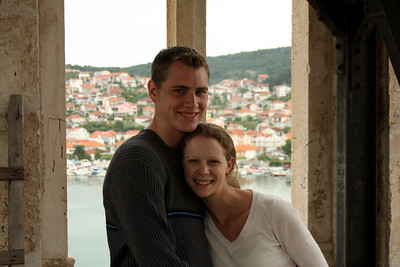 Emily and Rob at the top of the Cathedral of St. Lovro - Trogir, Croatia ... May 5, 2008 ... Photo by Unknown