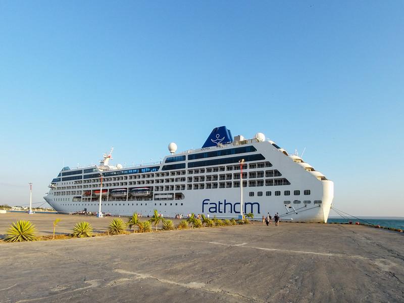 The Adonia docked in Cienfuegos, Cuba.
