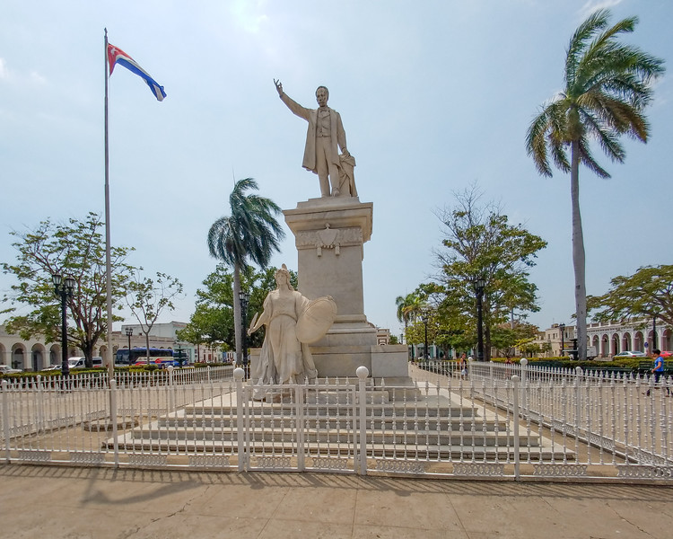 Marble monument of Jose Marti, a Cuban national hero, poet, journalist, teacher and the park's namesake