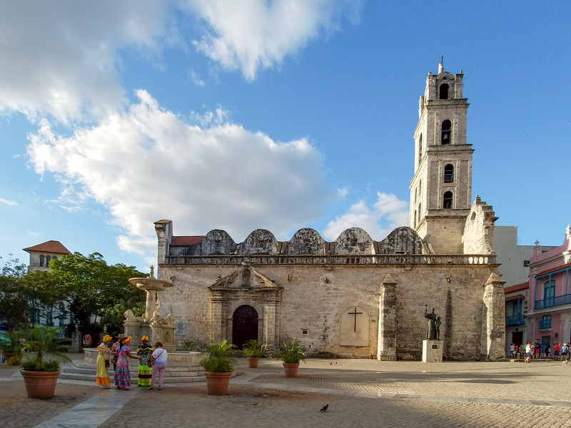 Early Saturday morning and the Havana street ladies at the Plaza de San Francisco de Asis