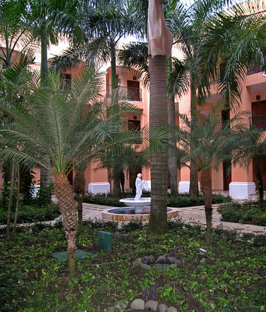 The courtyard of one block of rooms