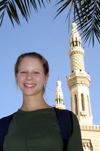Emily and the Jumeirah Mosque - Dubai, UAE ... November 19, 2006 ... Photo by Rob Page III