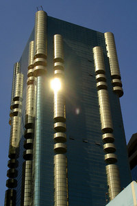 The Al Attar Tower 1.  It rises 130 metres above Sheik Zayed Road and opened in 1997 - Dubai, UAE ... November 19, 2006 ... Photo by Rob Page III