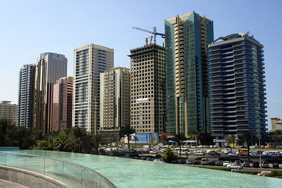 The buildings that line Sheikh Zayed Road - Dubai, UAE ... November 19, 2006 ... Photo by Rob Page III