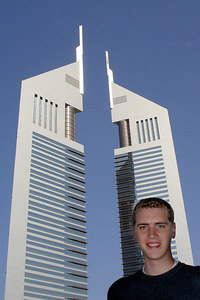 Rob and the Emirates Towers - Dubai, UAE ... November 19, 2006 ... Photo by Emily Conger