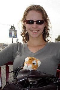 Emily hanging out with Tora along the banks of the Dubai Creek at Kan Zaman - Dubai, UAE ... December 1, 2006 ... Photo by Rob Page III