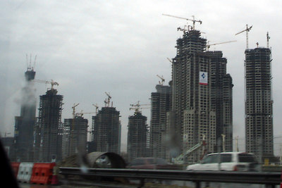 There is only a little bit of construction going on in Dubai.  The building on the very left is the Burj Dubai and is set to be the tallest in the world when it is opened at the end of 2008 - Dubai, UAE ... December 2, 2006 ... Photo by Rob Page III