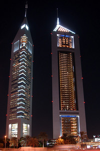 The Emirates Towers rising over a thousand feet above Sheikh Zayed Road - Dubai, UAE ... December 4, 2006 ... Photo by Rob Page III