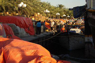 Unloading the dhows along the banks of the Creek - Dubai, UAE ... December 4, 2006 ... Photo by Rob Page III