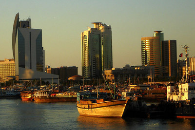 Old and Modern meet at the banks of the Creek - Dubai, UAE ... December 4, 2006 ... Photo by Rob Page III