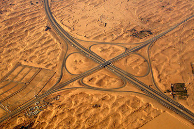 An interchange with nothing near it.  Growth is coming to the city - Dubai, UAE ... December 5, 2006 ... Photo by Rob Page III