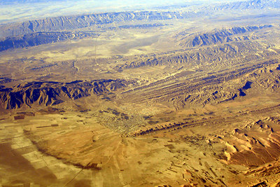 The mountains of Iran.  You can see a little city in the middle. -  December 5, 2006 ... Photo by Rob Page III