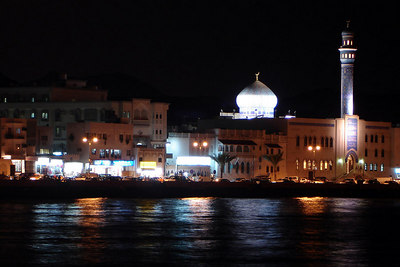 The coastline of Muttrah bay at night - Muttrah, Oman ... December 3, 2006 ... Photo by Rob Page III