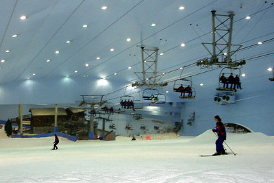 Inside Ski Dubai.  It was raining in the desert so Emily and I were forced to go skiing.  This resort is in the middle of a mall.  They supply you with everything you need for skiing - Dubai, UAE ... December 2, 2006 ... Photo by Rob Page III