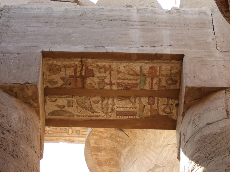 Ceiling color details at Karnak Temple in Luxor