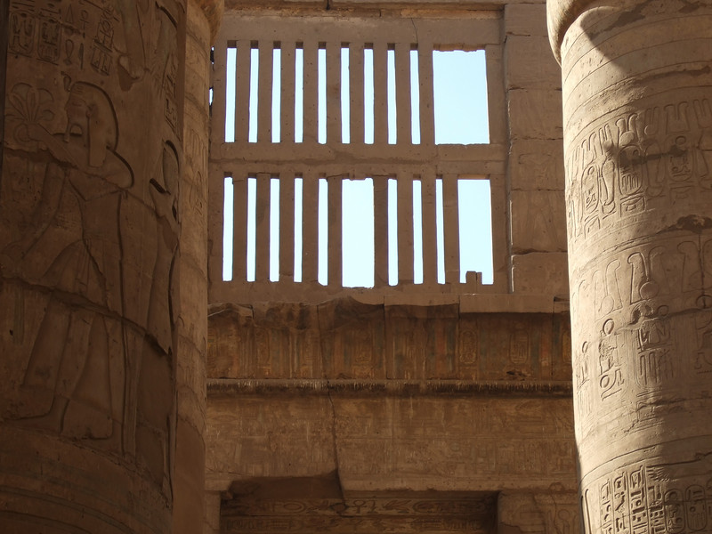 Wall color details at Karnak Temple in Luxor circa 2000 BC