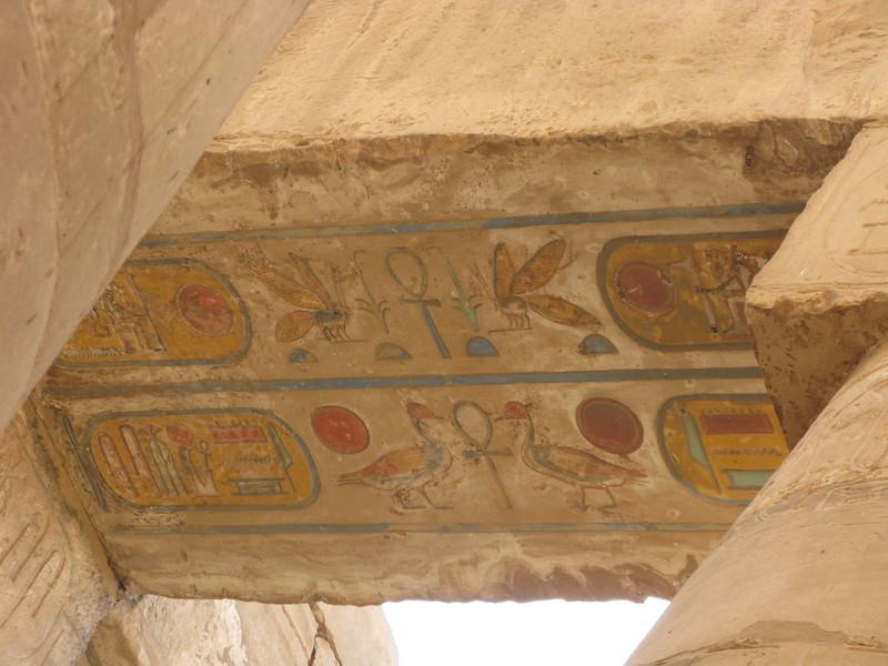 Ceiling color detail at Karnak Temple circa 2000 BC