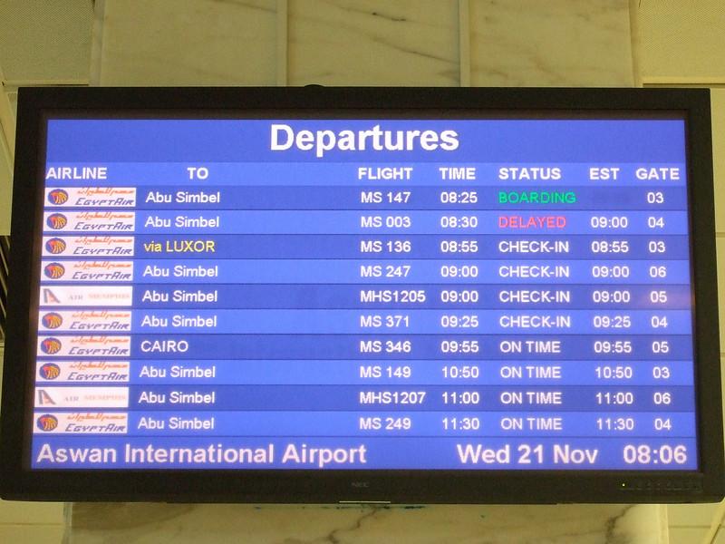 Flight Schedule to Abu Simbel