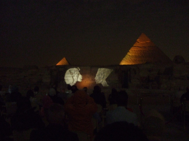 Wall Projections at Giza with Chephren (right) and Mekerrinus Pyramids