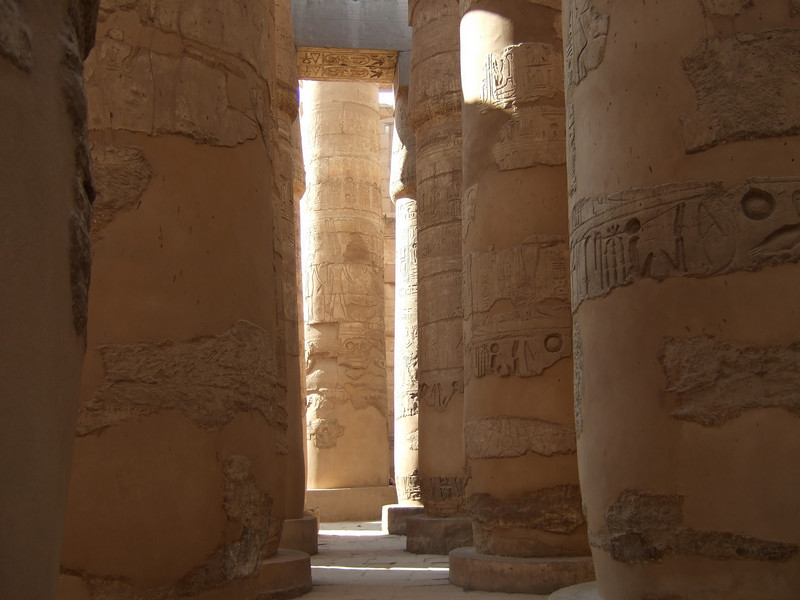 Some of the 134 Columns in Karnak temple in Luxor circa 2000 BC