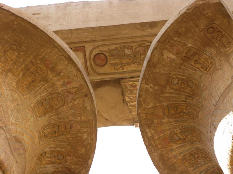 Column color details at Karnak Temple in Luxor circa 2000 BC