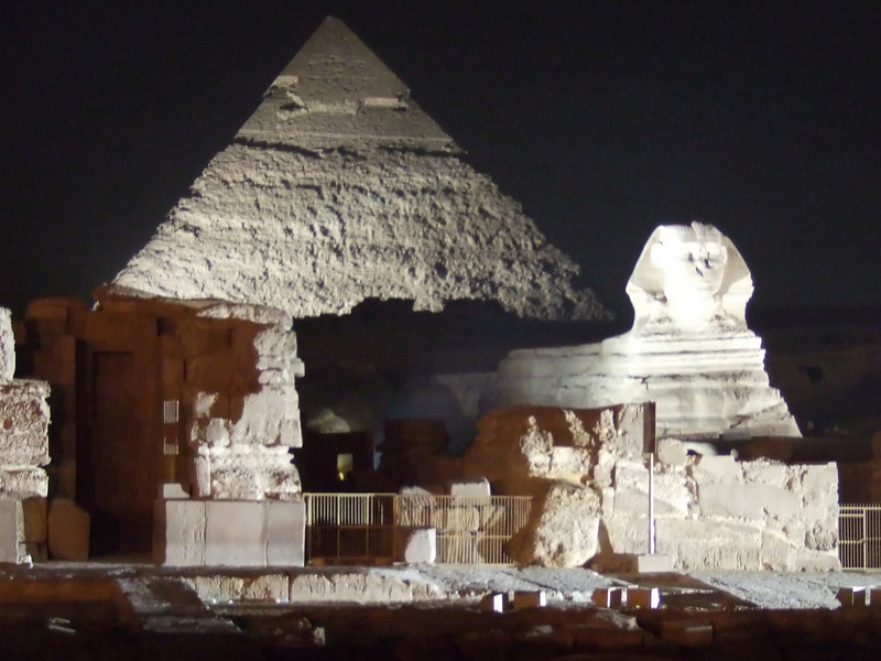 The Sphinx and Pyramid of Chephren at the Giza Light and Sound Show