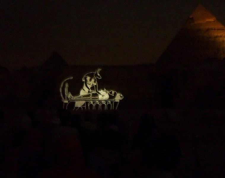 Mummification Wall Projection with Chephren's Pyramid at the Giza Light and Sound Show