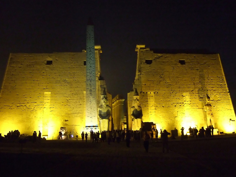 Entrance to Luxor Temple lit up at night