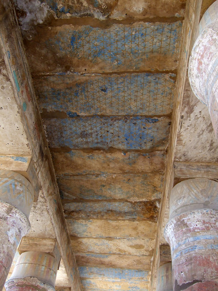 Ceiling color details at Karnak Temple in Luxor