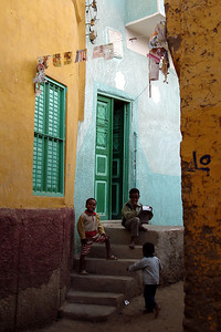 Boys playing in an alley on Elephantine Island - Aswan, Egypt ... November 25, 2006 ... Photo by Emily Conger