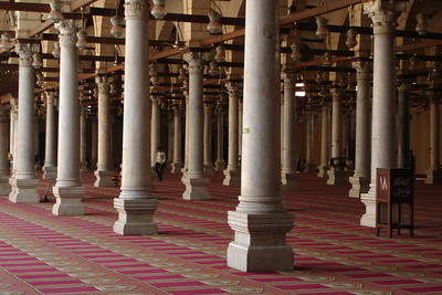 Inside the Mosque of Amr Ibn Al As.  This is the site of the first mosque in Egypt.  Construction began in 642 and have continued ever since - Cairo, Egypt ... November 21, 2006 ... Photo by Rob Page III