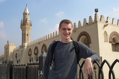 Rob outside the Mosque of Amr Ibn Al As.  This is the site of the first mosque in Egypt.  Construction began in 642 and have continued ever since - Cairo, Egypt ... November 21, 2006 ... Photo by Emily Conger