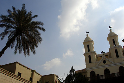 One of the date palm trees and the hanging church - Cairo, Egypt ... November 21, 2006 ... Photo by Rob Page III