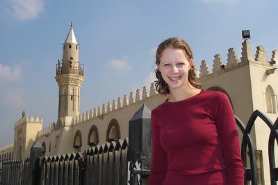 Emily outside the Mosque of Amr Ibn Al As.  This is the site of the first mosque in Egypt.  Construction began in 642 and have continued ever since - Cairo, Egypt ... November 21, 2006 ... Photo by Rob Page III