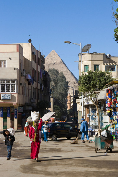 The city of Cairo comes right up to the pyramids at Giza.