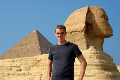Rob and the Sphinx - Giza, Egypt ... November 20, 2006 ... Photo by Emily Conger
