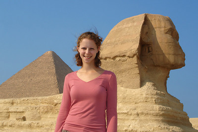 Emily, the Sphinx, and the Khufu Pyramid - Giza, Egypt ... November 20, 2006 ... Photo by Rob Page III