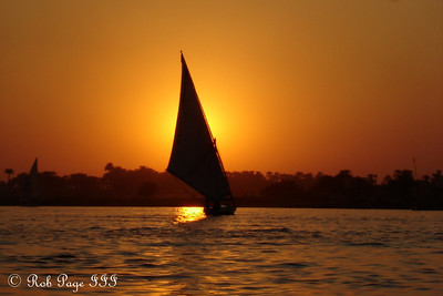 A felucca out on the Nile at sunset - Luxor, Egypt ... November 24, 2006 ... Photo by Emily Page