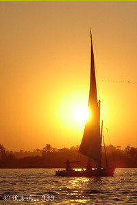 A felucca out on the Nile at sunset - Luxor, Egypt ... November 24, 2006 ... Photo by Emily Conger