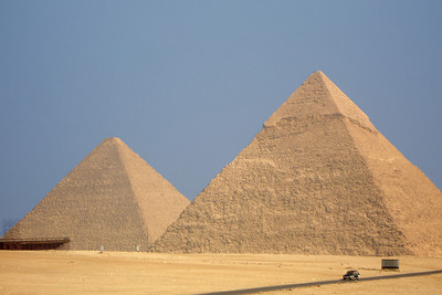 The Pyramids of Giza.  On the left is Khufu's (~138 meters) and the on the right is the one to Khafre (~136 meters) - Giza, Egypt ... November 20, 2006 ... Photo by Rob Page III